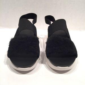 UGG Shoes - Ugg Silverlake Black Fur/Wool Sneakers Sandal